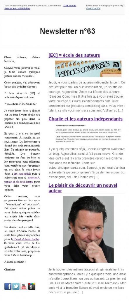 Newsletter n°63 (27/01/14)